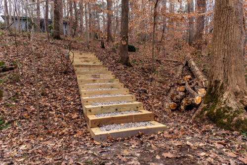 Front View of Trail Steps North Carolina Trail Builder